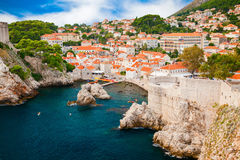 Small cozy harbor in the old part of Dubrovnik Royalty Free Stock Photo