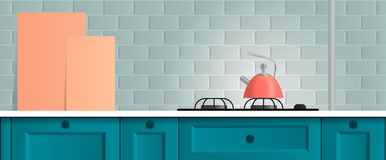 Beautiful bright kitchen background. kitchen set. gradient. A small cozy kitchen set. made in a simple style. beautiful background for advertising and brochures Stock Illustration