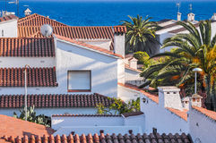 Small cozy resort town on Costa Dorada, Spain. Roofs. Stock Images