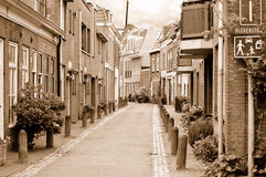Small cozy side street in Haarlem, near Amsterdam Royalty Free Stock Photos