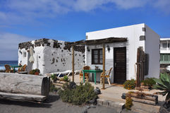 Small, cozy and simple white bungalow on spanish island Lanzarote Stock Photography
