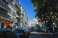 Small cozy street filled with cars in Nice, Azure coast in Franc stock photos