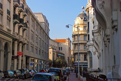 Small cozy street filled with cars in Nice, Cote d`Azur in Franc stock photo