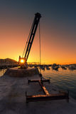 Small crane on Getxo port Stock Images