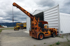 A small crane at an outdoor display in whitehorse Royalty Free Stock Photos