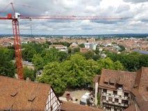 Small crane over city Stock Photo