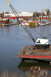 Small crane on a stern of a barge. Stock Photography