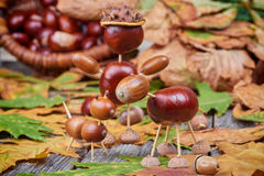 Small creatures made of chestnuts and acorns Stock Photo