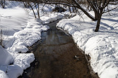 Small creek among the snowdrifts Royalty Free Stock Images