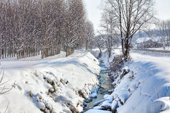 Small creek through snowy field. Royalty Free Stock Photos