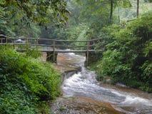 Small creek waterfall in the national park of Jiuzhaigou stock image