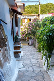 Small cretan village in Crete island, Greece. Building Exterior of home. Royalty Free Stock Images