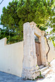 Small cretan village in Crete island, Greece. Building Exterior of home. Stock Photos