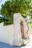 Small cretan village in Crete island, Greece. Building Exterior of home. Stock Photos