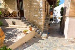 Small cretan village in Crete  island, Greece. Royalty Free Stock Images