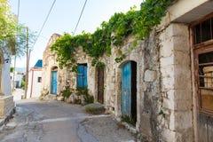Small cretan village in Crete  island, Greece. Royalty Free Stock Image