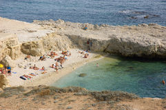 Small Crimean beach. Sevastopol. View from 35 bronebashennoy battery. Crimea Stock Image