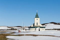 Small Cristian temple in winter season. With blue clear sky background, Iceland Royalty Free Stock Images