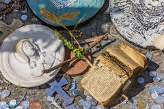 Small cross and old bible at the hill of crosses Royalty Free Stock Photos