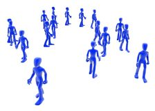 Small Crowd. A small crowd of blue 3d figures Royalty Free Stock Image