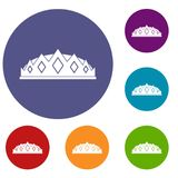 Small crown icons set. In flat circle red, blue and green color for web Stock Image