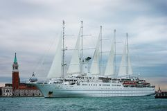 Small cruise ship leaving Venice Stock Images