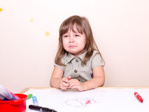 Small crying girl at school Royalty Free Stock Images
