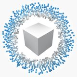 Small cubes around big one. 3d style vector illustration. Suitable for any banner, ad, technology, big data and abstract themes stock illustration