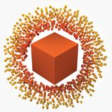 Small cubes around big one. 3d style vector illustration. Suitable for any banner, ad, technology, big data and abstract themes royalty free illustration