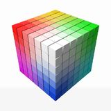 Small cubes makes color gradient in shape of big cube. 3d style vector illustration. Small cubes makes color gradient in shape of big cube. color theory concept royalty free illustration