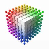 Small cubes makes color gradient in shape of big cube. smaller cubes on corners. 3d style vector illustration. Small cubes makes color gradient in shape of big vector illustration