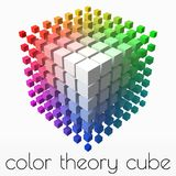 Small cubes makes color gradient in shape of big cube. smaller cubes on corners. 3d style vector illustration. Small cubes makes color gradient in shape of big stock illustration