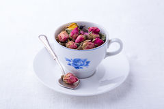 Small cup with dry roses tea Royalty Free Stock Photo