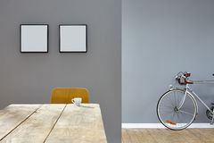 Small cup in vintage interior composed scenery table frames and road bike Stock Image