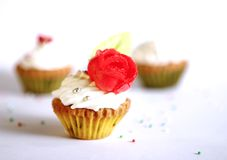 Small cupcakes with frosting Royalty Free Stock Photos