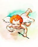 Small cupid with arrow. Illustration Royalty Free Stock Photo