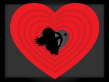 A small cupid with an arrow near the heart. For Valentine`s Day and for a wedding Stock Illustration