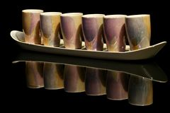 Small cups. 6 cups on a tray Royalty Free Stock Photos