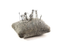 Small cushion with needles for sewing Royalty Free Stock Images