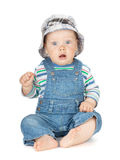 Small cute baby boy in jeans stock photos