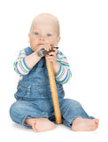 Small cute baby boy worker in jeans Royalty Free Stock Images