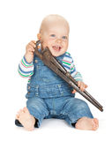 Small cute baby boy worker in jeans Stock Photography