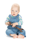 Small cute baby boy worker in jeans Royalty Free Stock Photos