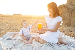 Small cute baby with his mother on a picnic. Royalty Free Stock Images