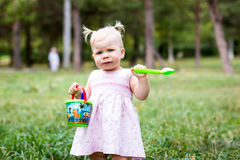 Small cute baby outdoors Stock Images