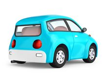 Small cute blue car back. View isolated on white. 3d illustration Royalty Free Stock Photography