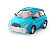 Small cute blue car. Isolated on white. 3d illustration Stock Image