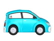 Small cute blue car side. View isolated on white. 3d illustration Stock Photography