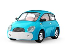 Small cute blue car. On white. 3d illustration Stock Photo