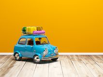 Small retro travel car on floor Stock Images